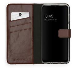 Selencia Selencia Echt Lederen Booktype Samsung Galaxy A12 - Bruin (D)