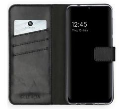 Selencia Selencia Echt Lederen Booktype Samsung Galaxy M31 - Zwart (D)
