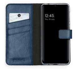 Selencia Selencia Echt Lederen Booktype Samsung Galaxy M31 - Blauw (D)