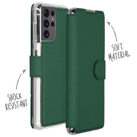Accezz Xtreme Wallet Booktype Galaxy S21 Ultra - Donkergroen (D)
