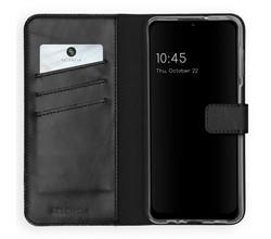 Selencia Selencia Echt Lederen Booktype Samsung Galaxy A12 - Zwart (D)