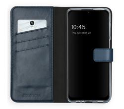 Selencia Selencia Echt Lederen Booktype Samsung Galaxy A12 - Blauw (D)