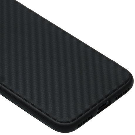 Carbon Softcase Backcover iPhone SE (2020) / 8 / 7 - Zwart (D)