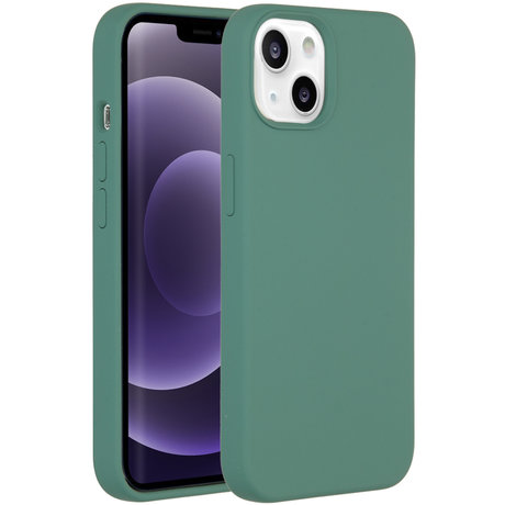 Accezz Liquid Silicone Backcover iPhone 13 - Donkergroen (D)