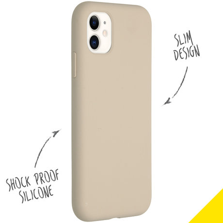 Accezz Liquid Silicone Backcover iPhone 11 - Stone (D)