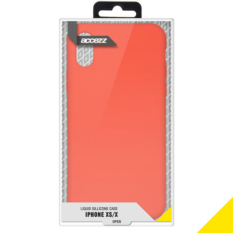 Accezz Liquid Silicone Backcover iPhone Xs / X - Nectarine (D)