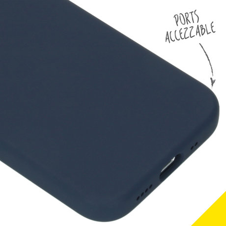 Accezz Liquid Silicone Backcover iPhone 12 Mini - Donkerblauw (D)