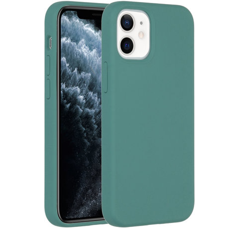 Accezz Liquid Silicone Backcover iPhone 12 Mini - Donkergroen (D)