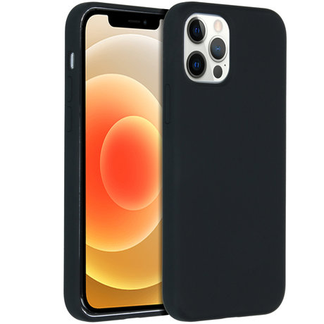 Accezz Liquid Silicone Backcover iPhone 12 (Pro) - Zwart (D)