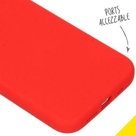 Accezz Liquid Silicone Backcover iPhone 12 (Pro) - Rood (D)