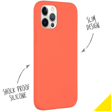 Accezz Liquid Silicone Backcover iPhone 12 (Pro) - Nectarine (D)