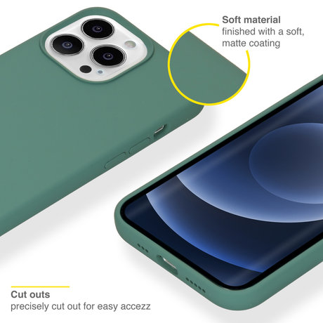 Accezz Liquid Silicone Backcover met MagSafe iPhone 13 Pro - Groen (D)