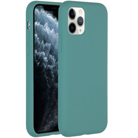 Accezz Liquid Silicone Backcover iPhone 11 Pro - Donkergroen (D)
