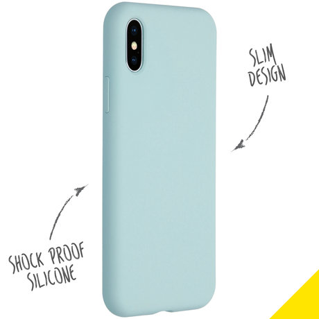 Accezz Liquid Silicone Backcover iPhone Xs / X - Sky Blue (D)