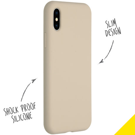 Accezz Liquid Silicone Backcover iPhone Xs / X - Stone (D)