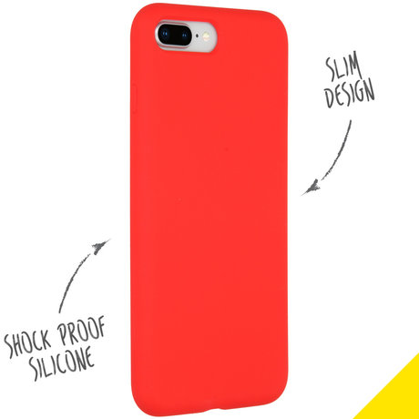 Accezz Liquid Silicone Backcover iPhone 8 Plus / 7 Plus - Rood (D)