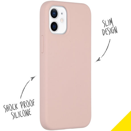 Accezz Liquid Silicone Backcover iPhone 12 Mini - Roze (D)