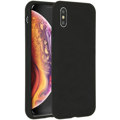 Accezz Liquid Silicone Backcover iPhone Xs / X - Zwart (D)