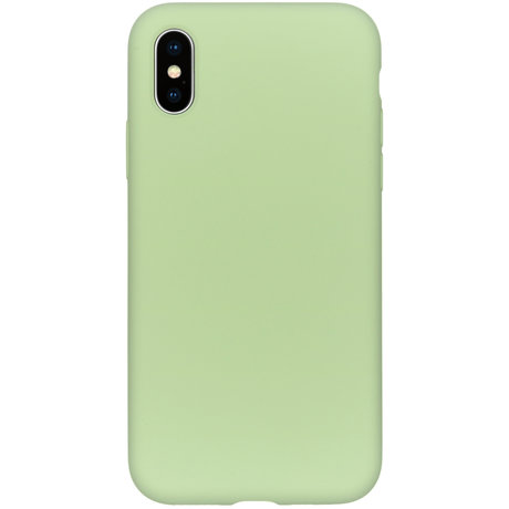 Accezz Liquid Silicone Backcover iPhone Xs / X - Groen (D)