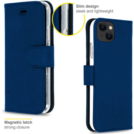Accezz Wallet Softcase Booktype iPhone 13 - Donkerblauw (D)