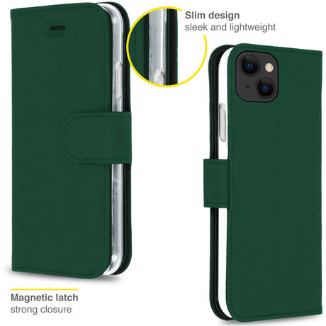 Accezz Wallet Softcase Booktype iPhone 13 - Groen (D)