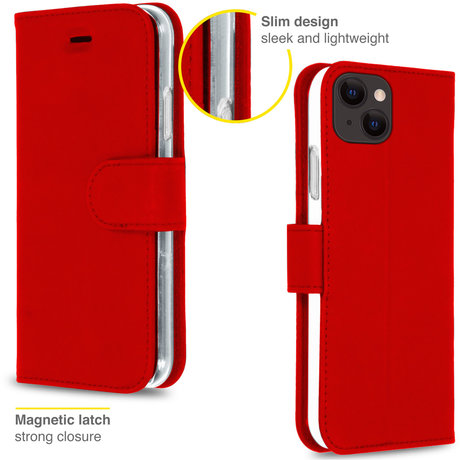 Accezz Wallet Softcase Booktype iPhone 13 - Rood (D)