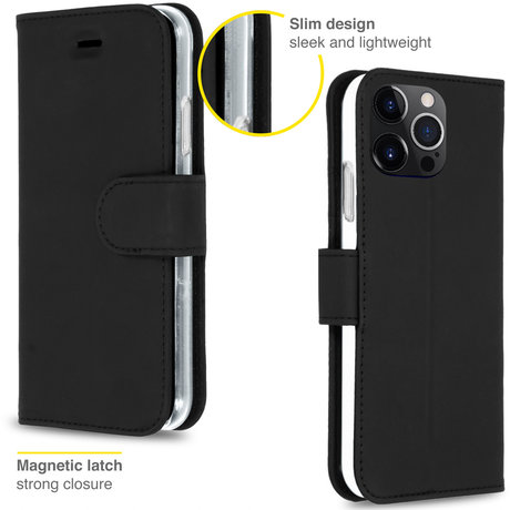 Accezz Wallet Softcase Booktype iPhone 13 Pro - Zwart (D)