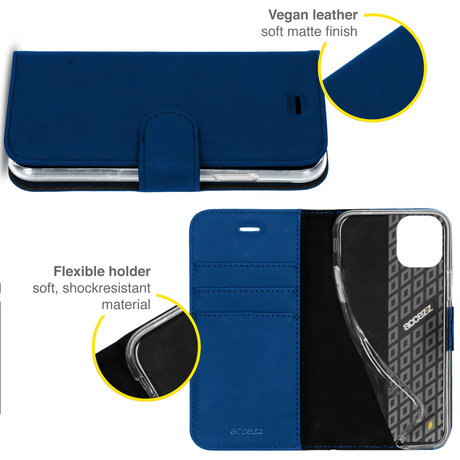 Accezz Wallet Softcase Booktype iPhone 13 Pro - Donkerblauw (D)