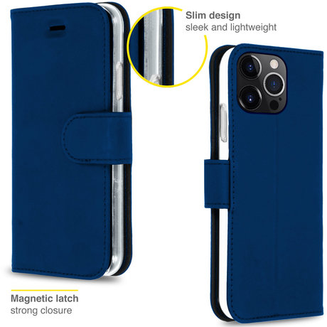 Accezz Wallet Softcase Booktype iPhone 13 Pro Max - Donkerblauw (D)
