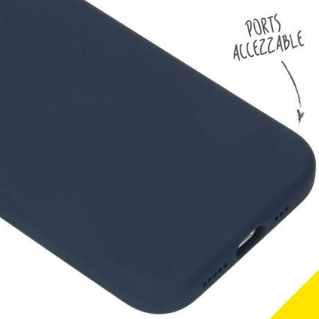 Accezz Liquid Silicone Backcover iPhone 12 (Pro) - Donkerblauw (D)