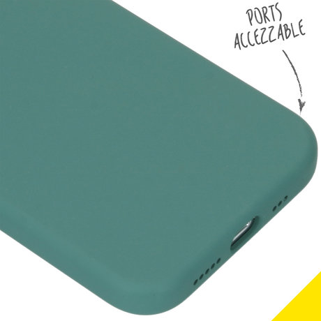 Accezz Liquid Silicone Backcover iPhone 12 (Pro) - Donkergroen (D)
