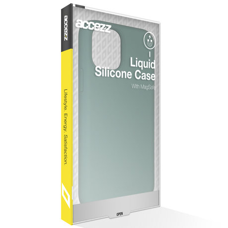 Accezz Liquid Silicone Backcover met MagSafe iPhone 12 Mini - Groen (D)