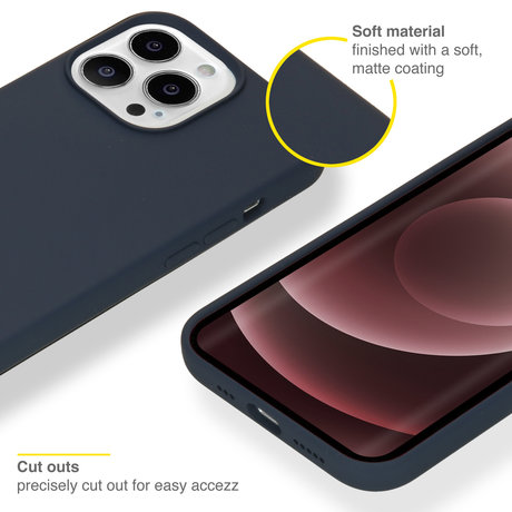 Accezz Liquid Silicone Backcover met MagSafe iPhone 13 Pro Max - Donkerblauw (D)