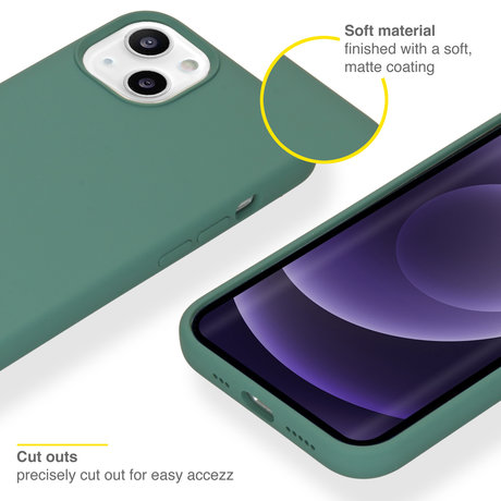 Accezz Liquid Silicone Backcover met MagSafe iPhone 13 - Groen (D)