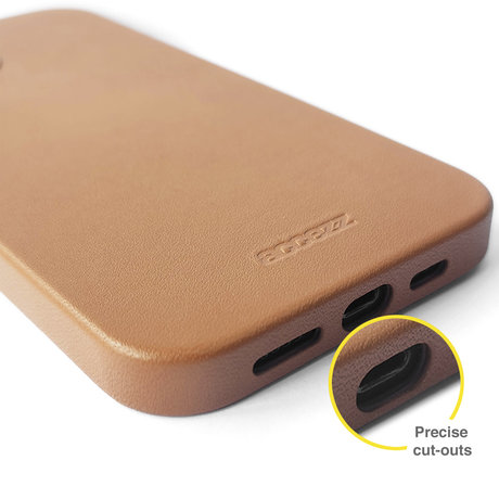 Accezz Leather Backcover met MagSafe iPhone 12 (Pro) - Bruin (D)