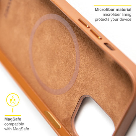 Accezz Leather Backcover met MagSafe iPhone 12 Pro Max - Bruin (D)