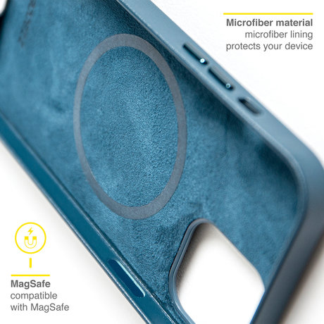 Accezz Leather Backcover met MagSafe iPhone 13 - Donkerblauw (D)
