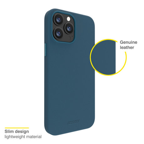 Accezz Leather Backcover met MagSafe iPhone 13 Pro - Donkerblauw (D)