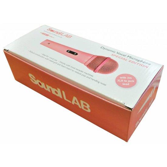 Soundlab Soundlab roze dynamische microfoon met kabel