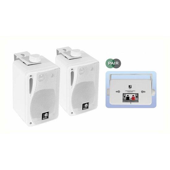 E-audio E-Audio Achtergrond luidsprekers met ophangbeugel 80 Watt 4 Ohm Wit