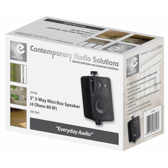 E-audio E-Audio Achtergrond luidsprekers met ophangbeugel 80 Watt 4 Ohm Zwart