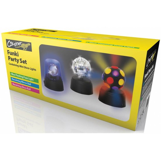 Cheetah Cheetah Funki Party set met mini discolampen voor kinderen