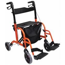 Aidapt VP184 2 in 1 rollator rolstoel oranje