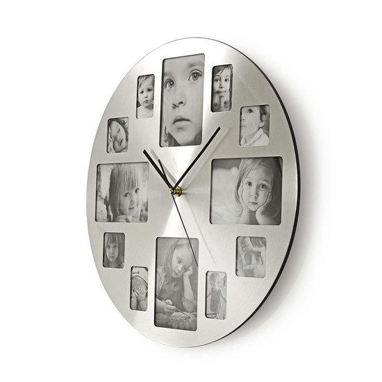 Nedis B.V. Nedis ronde wandklok met fotolijst 40 cm zilver