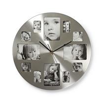 Nedis ronde wandklok met fotolijst 40 cm zilver