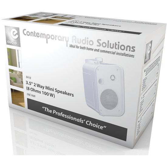 E-audio E-Audio achtergrond luidsprekers 3.5 inch 8 Ohm 100 Watt Wit