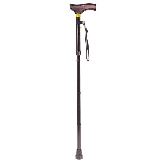 SHALL SHALL SHW12Z wandelstok met houten handgreep - opvouwbaar