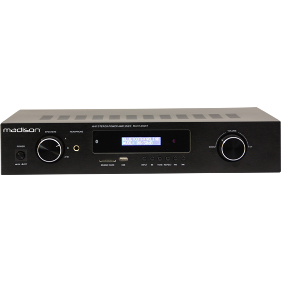 Madison Madison MAD1400BT-BK is een HiFi stereo versterker met bluetooth