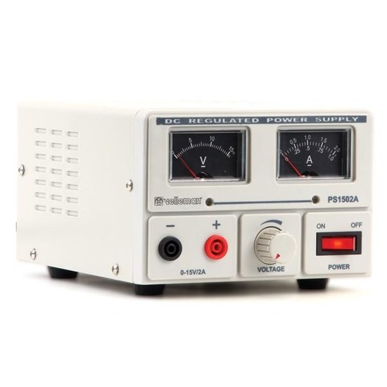 Velleman Velleman Laboratoriumvoeding 0-15 Volt / 2 Ampere met analoge display