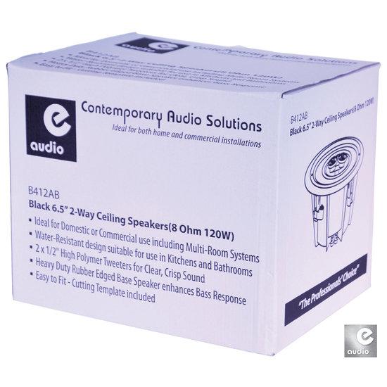 E-audio E-Audio B412AB waterbestendige zwarte plafondluidsprekers 17 cm 120 watt